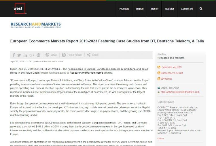 European Ecommerce Markets Report 2019-2023 Featuring Case Studies from BT, Deutsche Telekom, & Telia