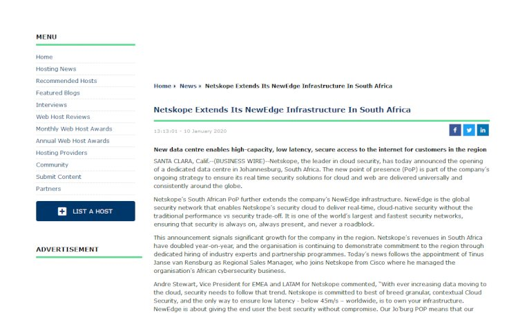 Netskope Extends Its NewEdge Infrastructure In South Africa