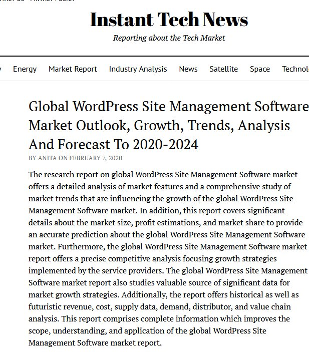 Global WordPress Site Management Software Market Outlook, Growth, Trends, Analysis And Forecast To 2020-2024