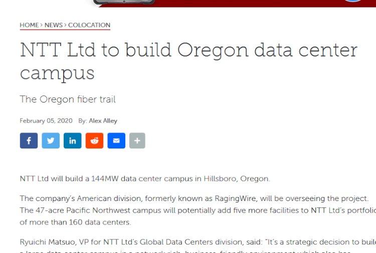 NTT Ltd to build Oregon data center campus