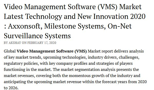 Video Management Software (VMS) Market Latest Technology and New Innovation 2020 : Axxonsoft, Milestone Systems, On-Net Surveillance Systems